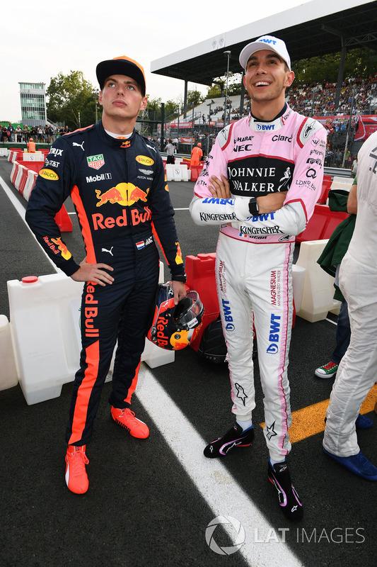 Max Verstappen, Red Bull Racing and Esteban Ocon, Sahara Force India F1