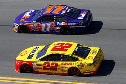 Joey Logano, Team Penske Ford and Denny Hamlin, Joe Gibbs Racing Toyota
