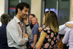 Mark Webber, Channel 4 Presenter with Natalie Pinkham, Sky Sports Presenter