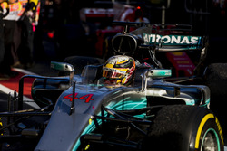 Lewis Hamilton, Mercedes AMG F1 W08, 2nd Position, arrives in Parc Ferme