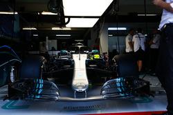The car of Lewis Hamilton, Mercedes AMG F1 W09, in the garage