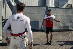 Charles Leclerc, Sauber warms up playing football with his trainer