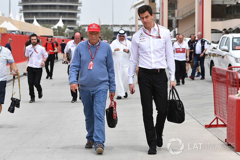 Niki Lauda, Mercedes AMG F1 Non-Executive Chairman and Toto Wolff, Mercedes AMG F1 Director of Motorsport