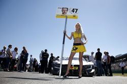 Grid girl of Joel Eriksson, BMW Team RBM, BMW M4 DTM