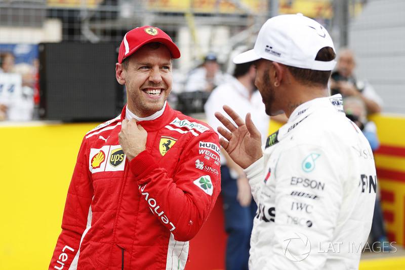 3. Sebastian Vettel, Ferrari, Pole Lewis Hamilton, Mercedes AMG F1