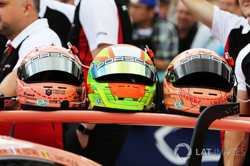 Helmets of Porsche GT drivers