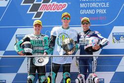 Race winner Joan Mir, Leopard Racing, second placeLivio Loi, Leopard Racing, third place Jorge Martin, Del Conca Gresini Racing Moto3