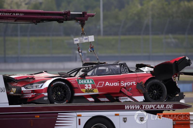 La voiture de René Rast, Audi Sport Team Rosberg, Audi RS 5 DTM après l'accident