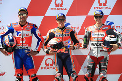 Pole sitter Marc Marquez, Repsol Honda Team, second place Danilo Petrucci, Pramac Racing, third place Jorge Lorenzo, Ducati Team