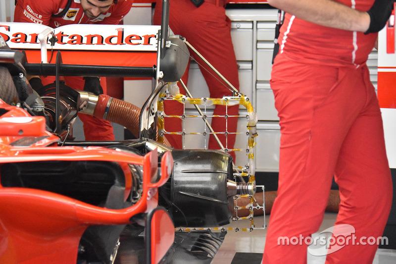 El Ferrari SF70H con sensores en la parte trasera