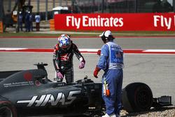 Romain Grosjean, Haas VF-17, nach Dreher