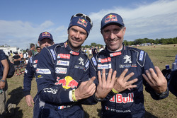 Stéphane Peterhansel and Cyril Despres, Peugeot Sport celebrating Stéphane's 13th win in the event