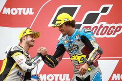 Podium: second place Thomas Luthi, CarXpert Interwetten, Race winner Franco Morbidelli, Marc VDS