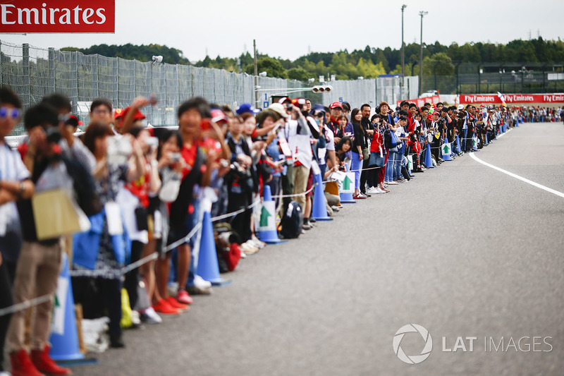Fans queue on the track