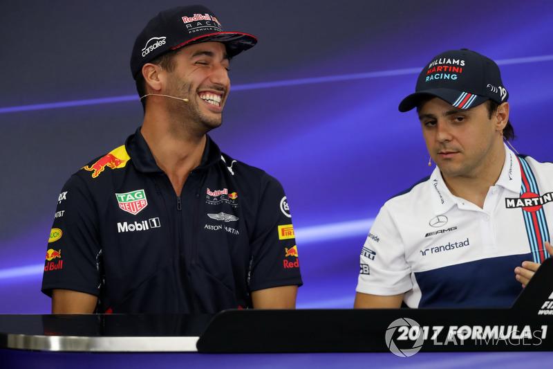 Daniel Ricciardo, Red Bull Racing and Felipe Massa, Williams in the Press Conference