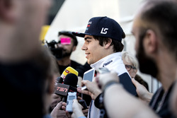 Lance Stroll, Williams, talks to the media