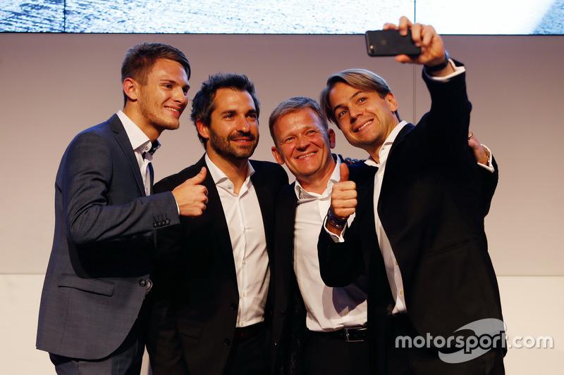 Marco Wittmann; Timo Glock; Stefan Reinhold, Team Principal BMW Team RMG and Augusto Farfus