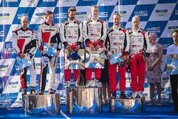 Podium: winners Esapekka Lappi, Janne Ferm, Toyota Racing, second place Elfyn Evans, Daniel Barritt,