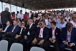 Президент FIA Жан Тодт, Керівник Liberty Media Чейз Кері, Себастьян Феттель, керівник команди Ferrar