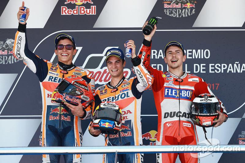 Podium: Race winner Dani Pedrosa, Repsol Honda Team, second place Marc Marquez, Repsol Honda Team, third place Jorge Lorenzo, Ducati Team