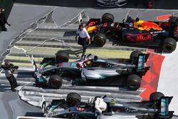 Valtteri Bottas, Mercedes-Benz F1 W08 , Lewis Hamilton, Mercedes-Benz F1 W08  and Daniel Ricciardo, Red Bull Racing RB13 in parc ferme