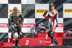 Podium: winner Jonathan Rea, Kawasaki Racing, third place Nicky Hayden, Honda World Superbike Team