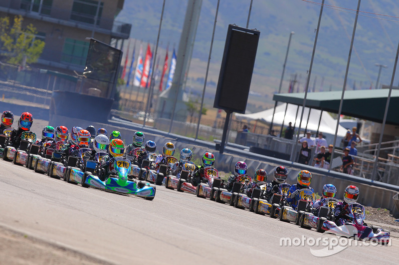 Rotax Junior start, led by Ryan MacDermid and Manuel Sulaiman
