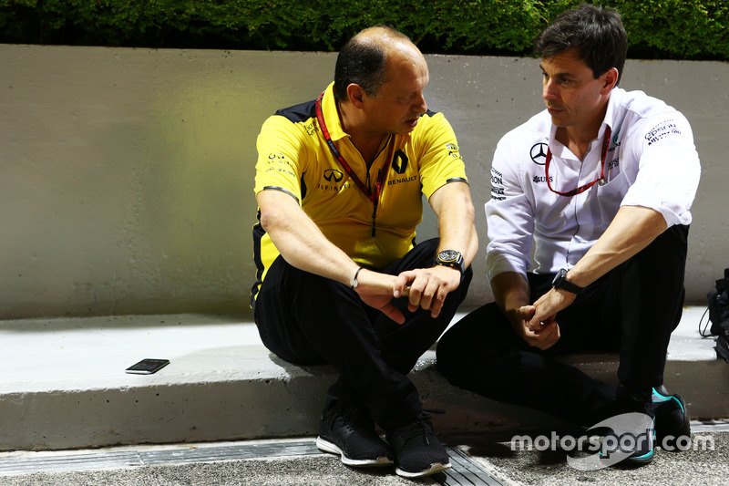 (L to R): Frederic Vasseur, Renault Sport F1 Team Racing Director with Toto Wolff, Mercedes AMG F1 Shareholder and Executive Director