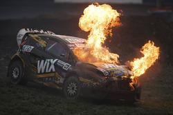 Nelson Piquet Jr., SH Racing Rallycross Ford in flames