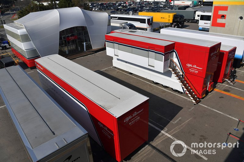 Alfa Romeo Racing trucks in the Paddock