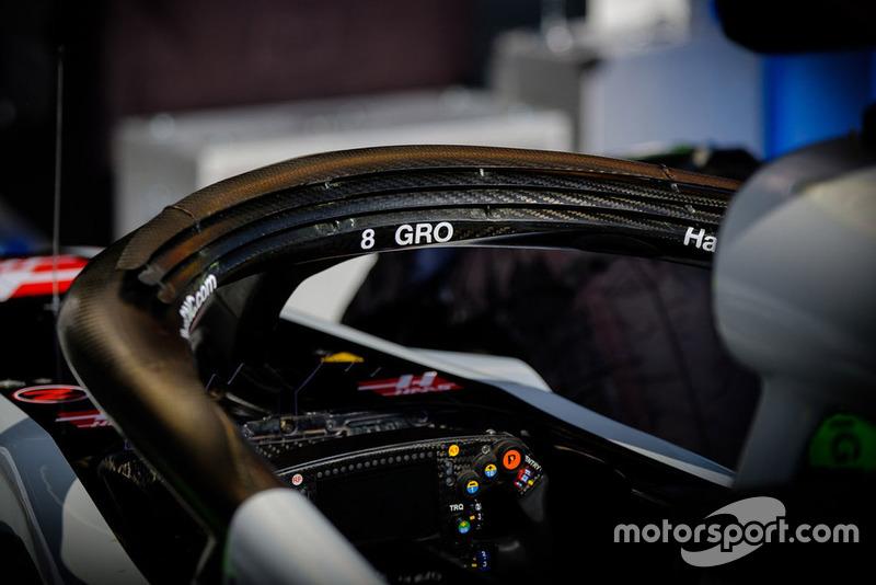 Haas F1 Team VF-18 of Romain Grosjean, halo detail