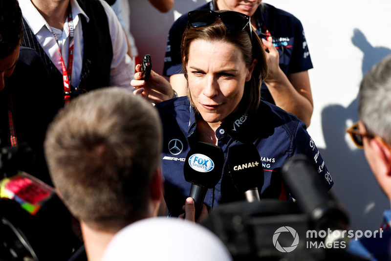 Claire Williams, Deputy Team Principal, Williams Racing, talks to the press
