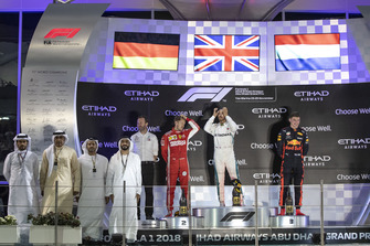Bradley Lord, Head of Mercedes-Benz Motorsport Communications, Sebastian Vettel, Ferrari, Lewis Hamilton, Mercedes AMG F1 and Max Verstappen, Red Bull Racing celebrates on the podium