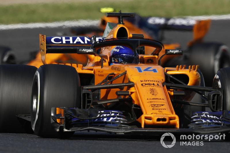 Fernando Alonso, McLaren MCL33, leads Stoffel Vandoorne, McLaren MCL33
