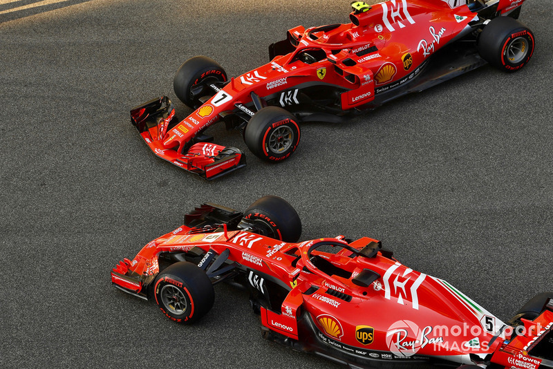 Le Ferrari SF71H di Sebastian Vettel, Ferrari e Kimi Raikkonen, Ferrari