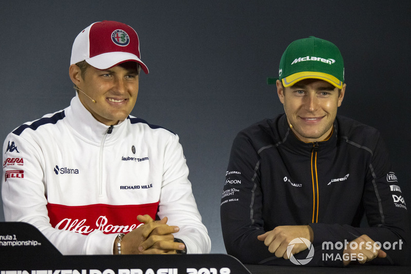 Marcus Ericsson, Sauber and Stoffel Vandoorne, McLaren in the press conference