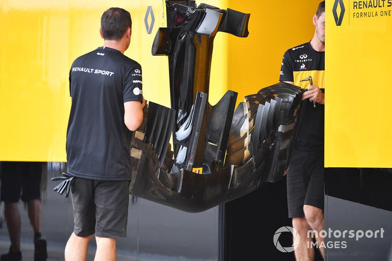 El morro y alerón delantero del Renault Sport F1 Team R.S. 18