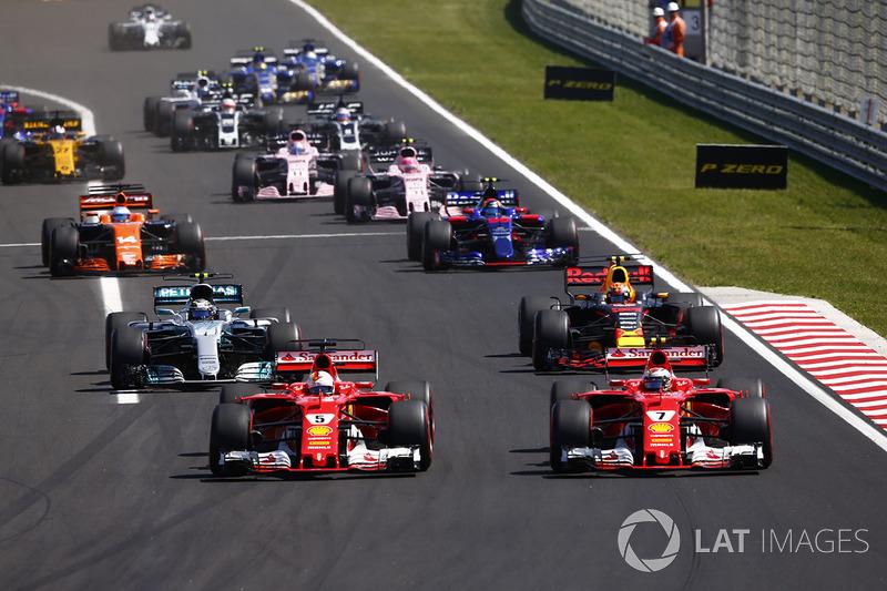 Sebastian Vettel, Ferrari SF70H, Kimi Raikkonen, Ferrari SF70H, Max Verstappen, Red Bull Racing RB13