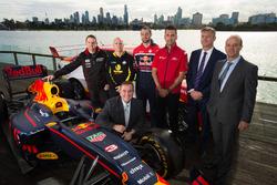 Minister John Eren, drivers Todd Kelly, Lee Holdsworth, Shane van Gisbergen, Fabian Coulthard, Supercars CEO James Warburton, AGPC CEO Andrew Westacott