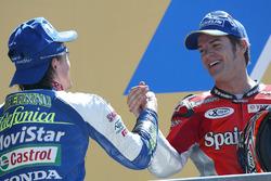 Podium: winner Sete Gibernau, Telefonica Movistar Honda MotoGP, second place Carlos Checa, Fortuna Yamaha