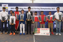 The winners of the MMS FMSCI Rotax Max National Karting Championship 2017
