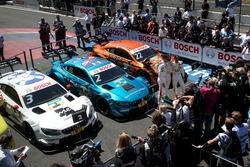 El top 3 tras la carrera: El ganador Gary Paffett, Mercedes-AMG Team HWA, el segundo Paul Di Resta, Mercedes-AMG Team HWA, y el tercero Lucas Auer, Mercedes-AMG Team HWA