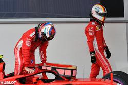 Kimi Raikkonen, Ferrari SF71H ve Sebastian Vettel, Ferrari, parc ferme