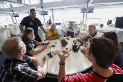 Tom Coronel, Roal Motorsport, Chevrolet RML Cruze TC1, Thed Björk, Polestar Cyan Racing, Volvo S60 Polestar TC1  with the media
