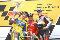 Podium: Race winnner Toni Elias, Fortuna Honda, second place Valentino Rossi, Yamaha, third place Kenny Roberts, Jr., Team Roberts