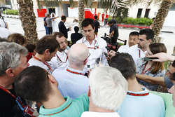Toto Wolff, Executive Director, Mercedes AMG, speaks to the media