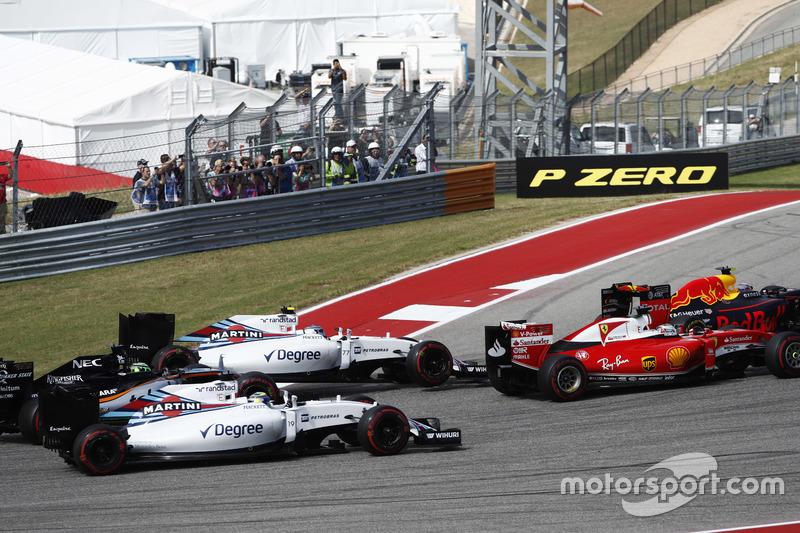 Max Verstappen, Red Bull Racing RB12; Sebastian Vettel, Ferrari SF16-H; Valtteri Bottas, Williams FW38; Felipe Massa, Williams FW38; Nico Hülkenberg, Force India VJM09