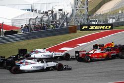 Max Verstappen, Red Bull Racing RB12 leads Sebastian Vettel, Ferrari SF16-H; Valtteri Bottas, Williams FW38; Felipe Massa, Williams FW38 and Nico Hulkenberg, Force India VJM09