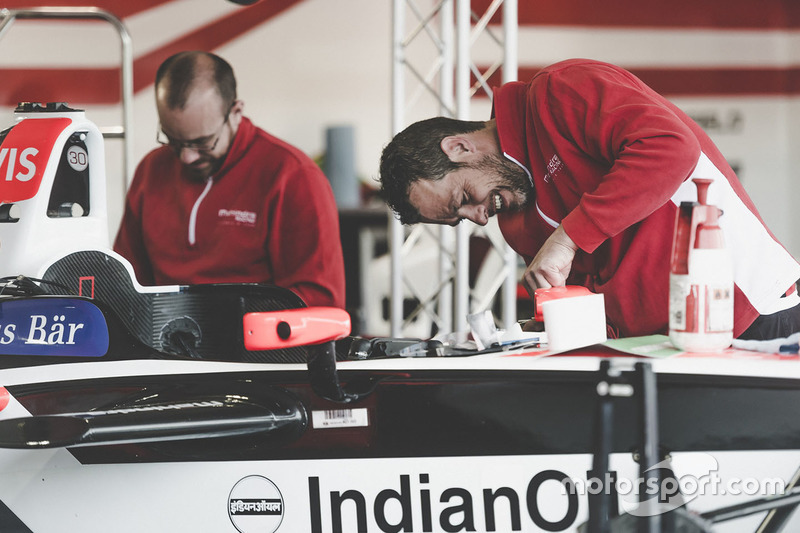 Mahindra Racing mechanic at work