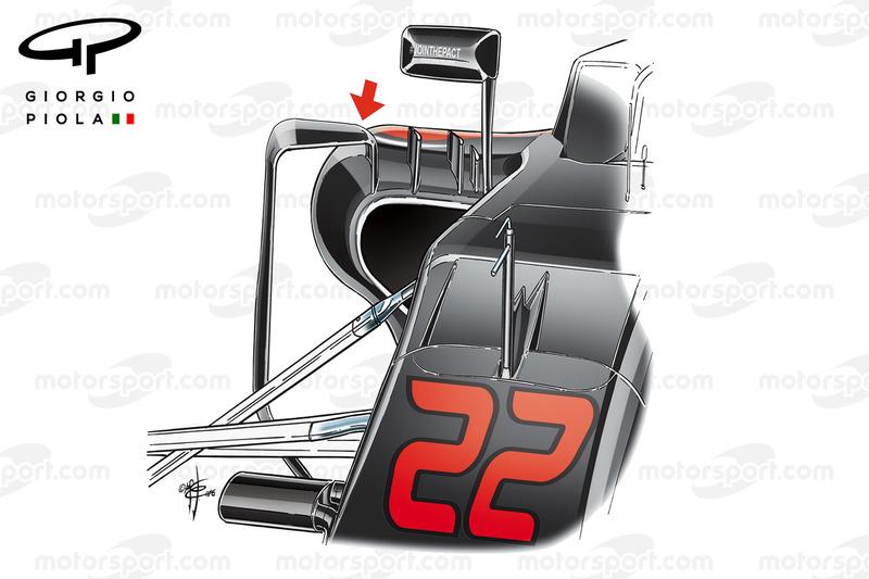 Veränderte Luftführung an den Seitenkästen des McLaren MP4-31